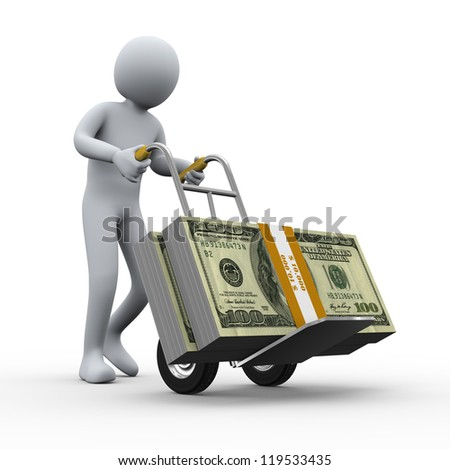 3d illustration of person pushing hand truck with dollar packets. 3d rendering of human character.
