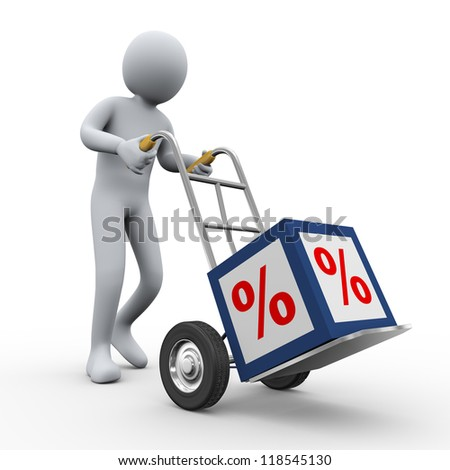3d illustration of person pushing hand truck with percent sign cube. 3d rendering of human  character.