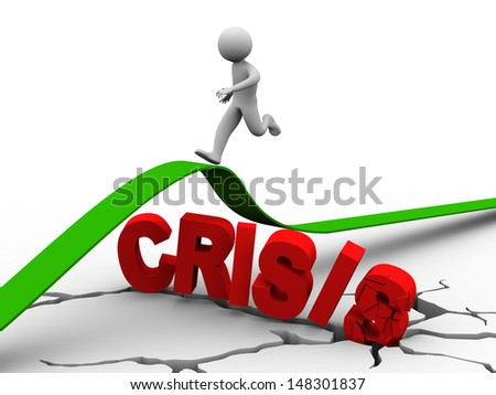 3d illustration of  person running over word crisis and detailed earth ground crack. Concept of disaster planning - stock photo