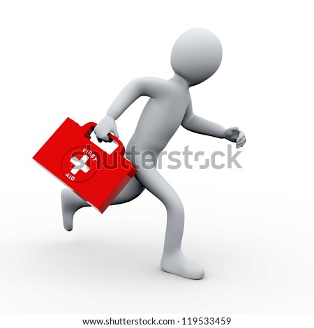 3d illustration of person running with first aid box.  3d rendering of human character.