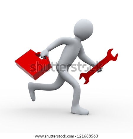 3d illustration of person running with wrench and tool box.  3d rendering of people - human character.
