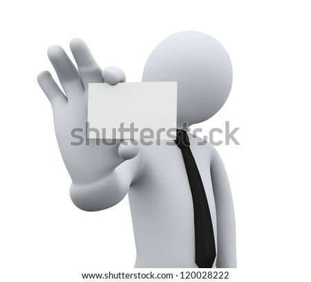 3d illustration of person showing blank small business card. 3d rendering of people -human character.