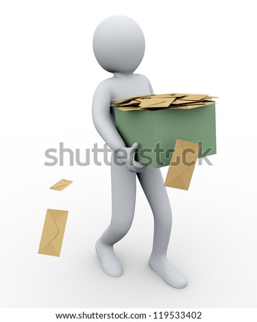3d illustration of person taking box full of envelopes. 3d rendering of human character