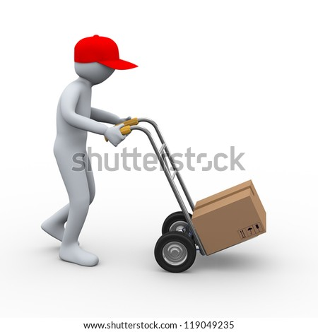 3d illustration of person with hand truck delivering cardboard box free shipping parcel. 3d rendering of human character