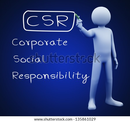 3d illustration of person with marker writing csr - Corporate Social Responsibility.  3d rendering of people - human character.