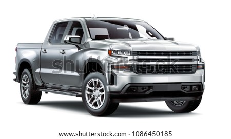 3D illustration of Pickup Truck isolated on white background