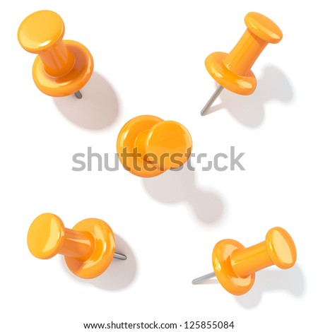 3d illustration of pins with shadow. Different view isolated