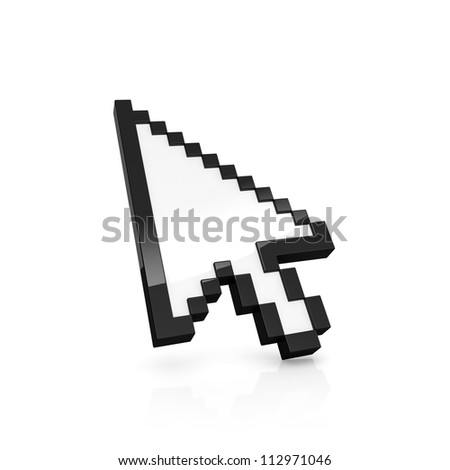 3D illustration of pixelated arrow pointer isolated on white