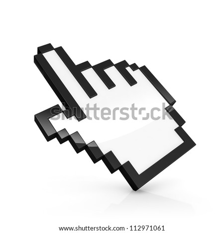 3D illustration of pixelated hand pointer isolated on white