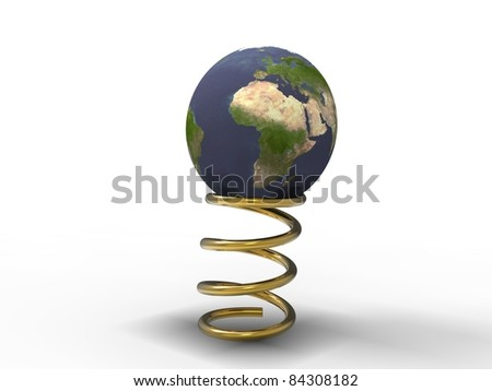 3d illustration of planet earth in the process of bouncing on a spring gold