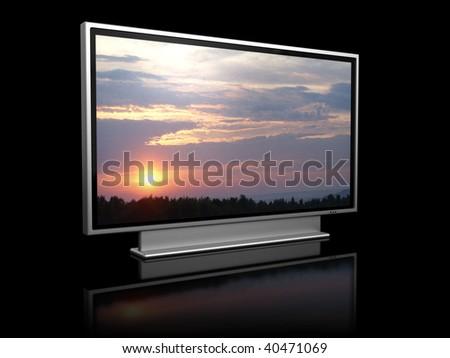 3d illustration of plasma tv over black background