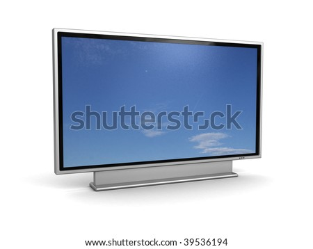 3d illustration of plasma tv with blank sky on screen