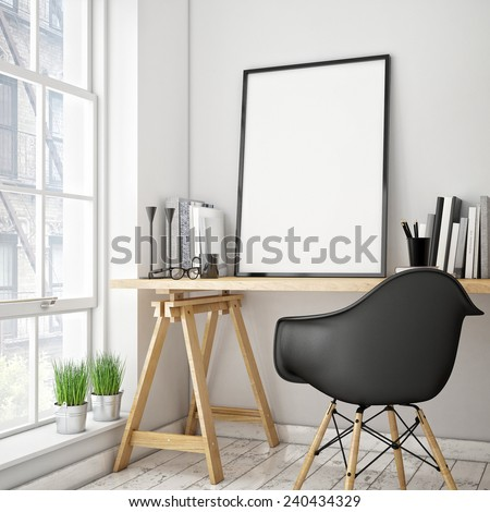 3D illustration of poster frame template, workspace mock up, background