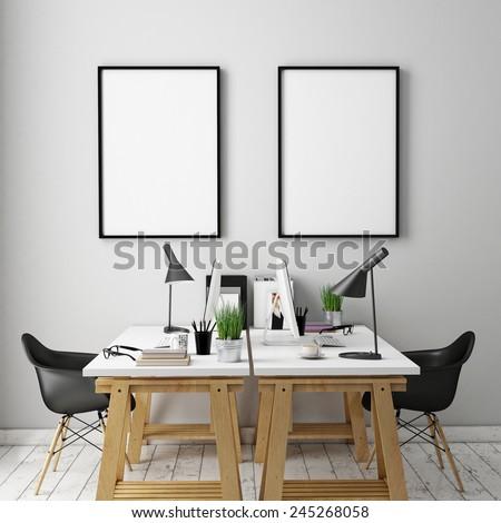 3D illustration of poster frames template, workspace mock up, background