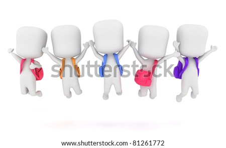 3D Illustration of Preschool Kids Jumping at the Same Time