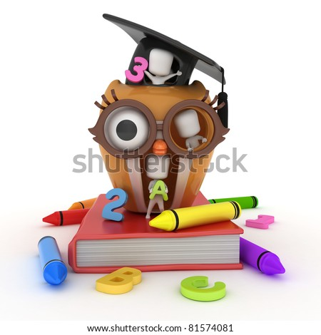 3D Illustration of Preschool Kids Playing in an Owl House