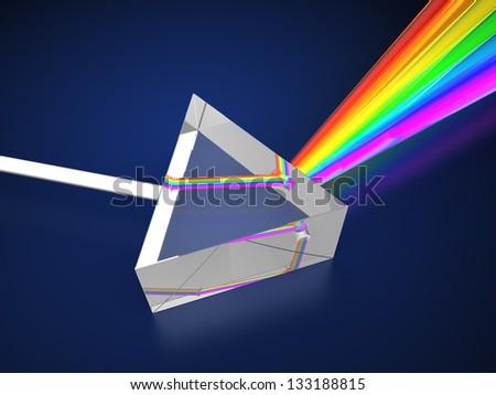 3d illustration of prism with light spectrum