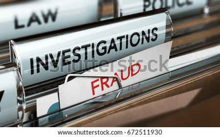 3D illustration of private investigator files with the words investigation and fraud