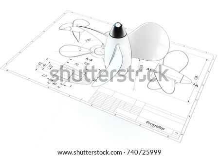 3d illustration of propeller above engineering drawing