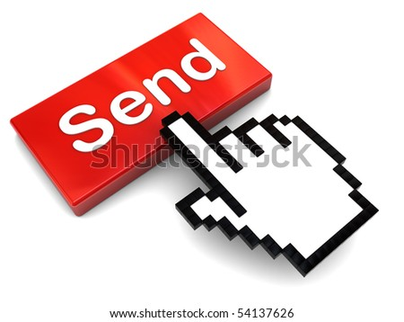3d illustration of pushing 'send' button, e-mail communication concept