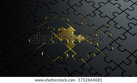 3d illustration of puzzle dark black pieces background texture with a golden metallic one in the center concept for leadership Photo stock ©