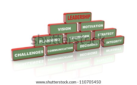 3d Illustration of pyramid of leadership concept