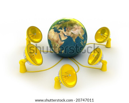 3d illustration of radio-aerials,antenns connected to the earth - stock photo