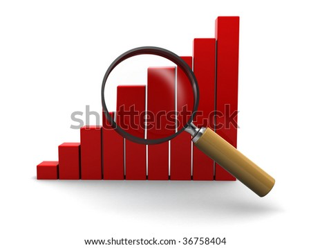 3d illustration of raising charts and magnify glass