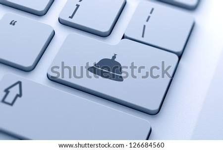 3d illustration of reception bell icon button on keyboard with soft focus