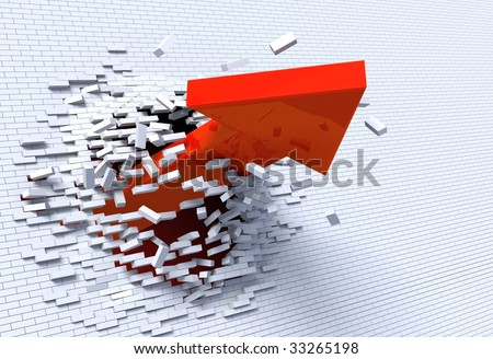 3D illustration of red arrow breaking through a white brick wall.