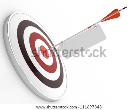 3D illustration of red arrow hitting targets bullseye
