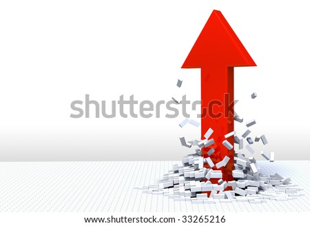 3D illustration of red arrow shooting up and breaking through a white brick floor.