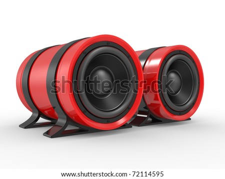 3d illustration of red audio speaker on white background.
