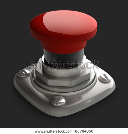 3d illustration of red button closeup isolated on black. High resolution. 3D image