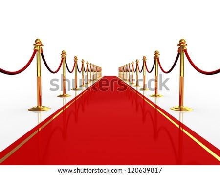 3d illustration of red carpet over white background