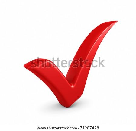3d illustration of red check mark standing over white background