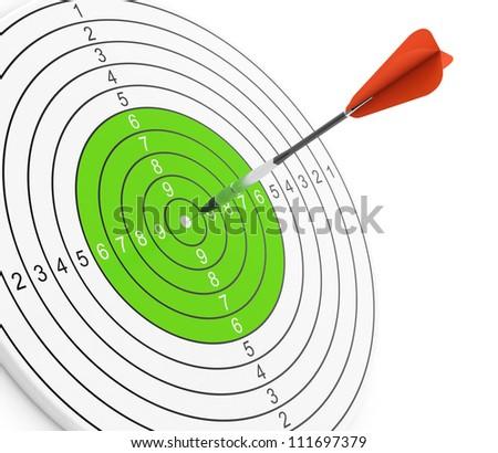 3D illustration of red dart hitting bullseye of green target