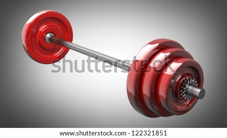 3d illustration of red dumbbell. High resolution