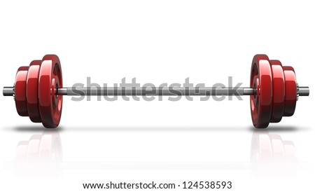 3d illustration of red dumbbell isolated on white background. High resolution