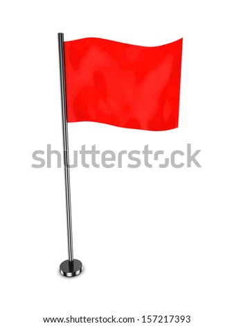 3d illustration of red flag standing over white background