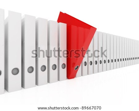3d illustration of red folder within white