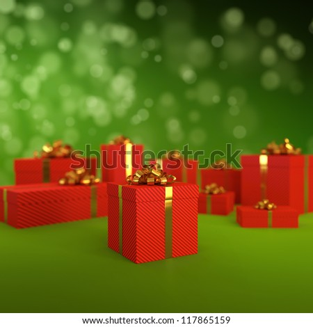 3D illustration of red gift boxes on green background