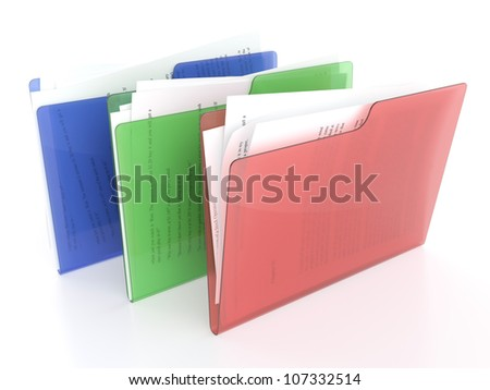 3D illustration of red, green and blue file icons on white background