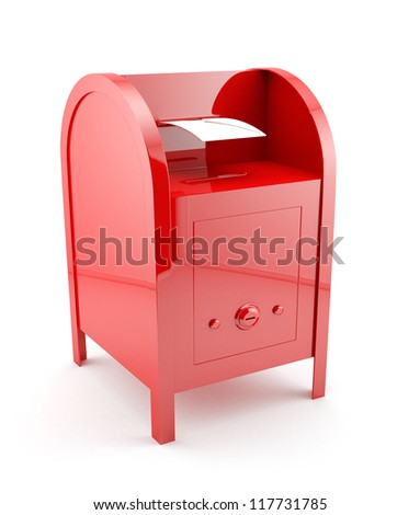 3d illustration of red mailbox with envelope. Isolated on white background