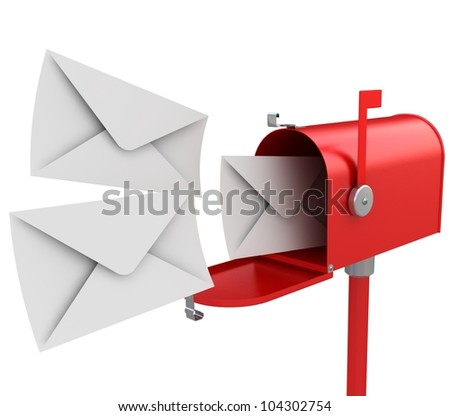 3d illustration of red mailbox with letters, isolated over white background