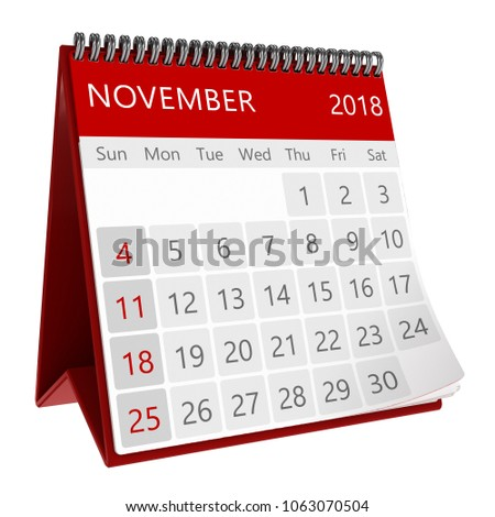 3d illustration of red monthly calendar isolated, page november 2018