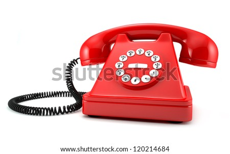 3d illustration of red old-fashioned phone on white background