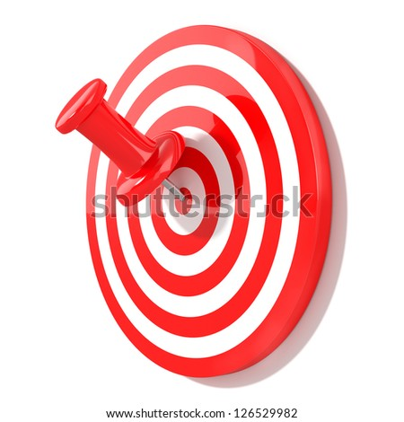 3d illustration of red pin with target