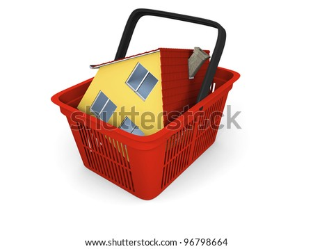 3D illustration of red plastic shopping basket with model of house inside - stock photo
