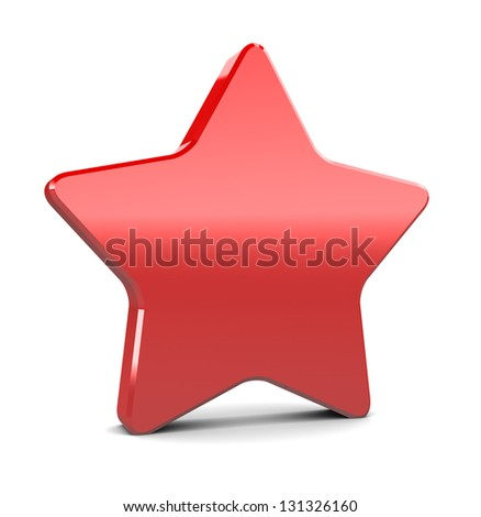 3d illustration of red plastic star over hwite background